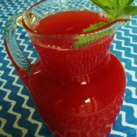 Fresh strawberry and rhubarb cordial