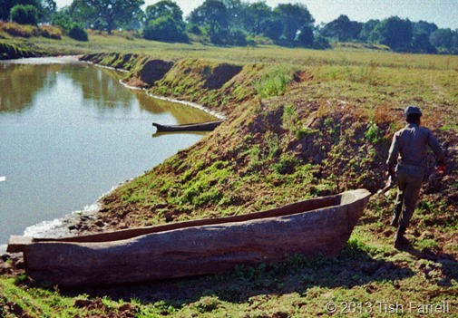 South Luangwa - traditional fishermen's dug-outs on a lagoon