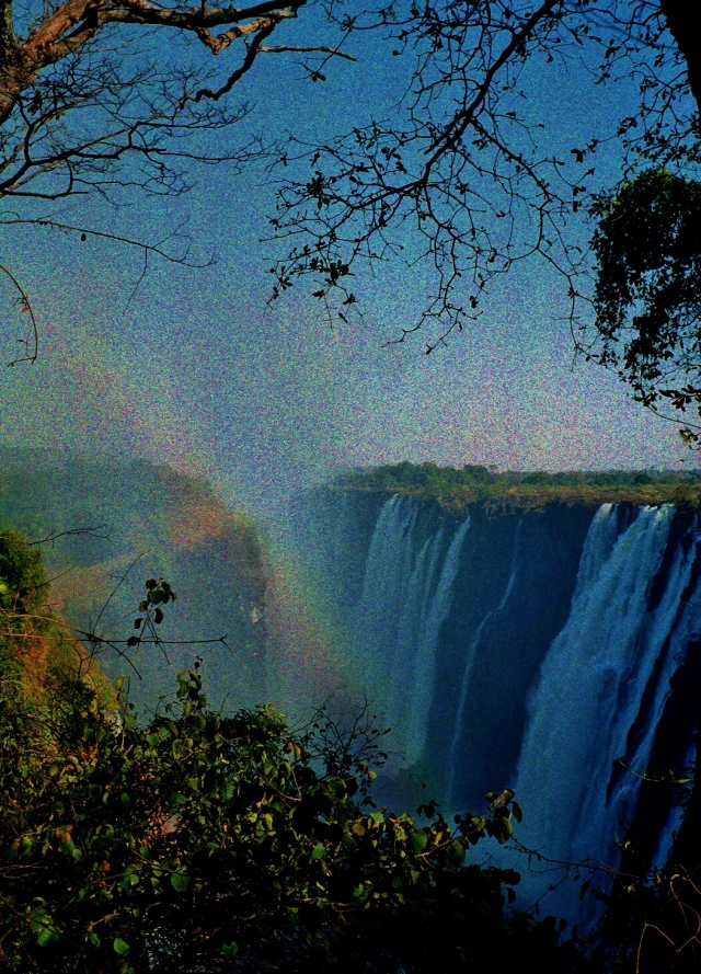 Victoria Falls - Zambian side with rainbow