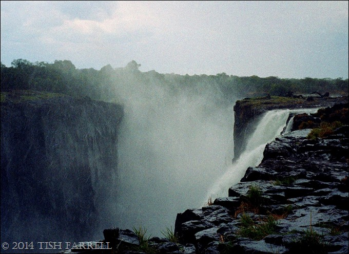 Victoria Falls, looking over the knife edge in a rainstorm