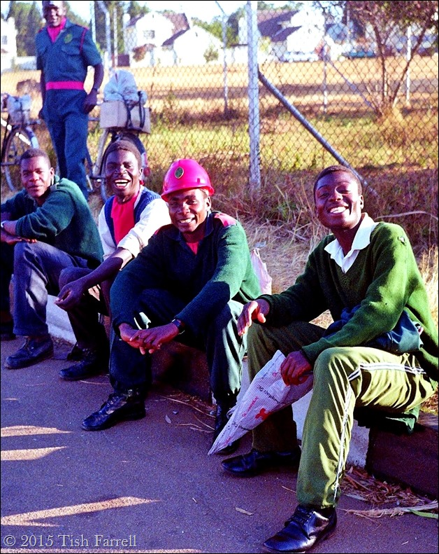 Harare night guards waiting to go on duty
