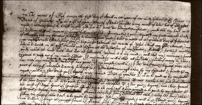 Joan Bennett of Gotheridge spinster dau of Wm Bennett senior 1665 will cropped