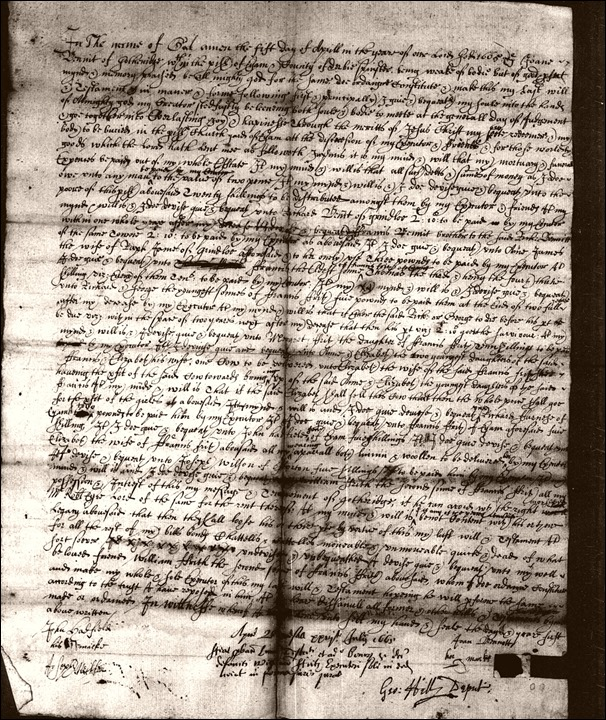 Joan Bennett of Gotheridge spinster dau of Wm Bennett senior 1665 will resized
