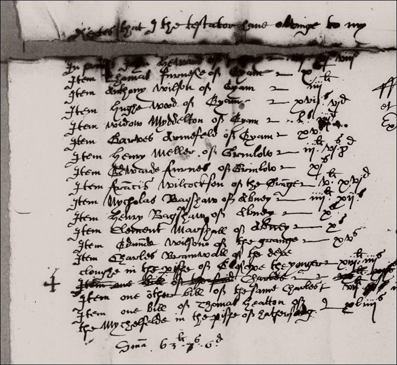 William Bennett - 1620 Will Eyam top page 1 debts owed