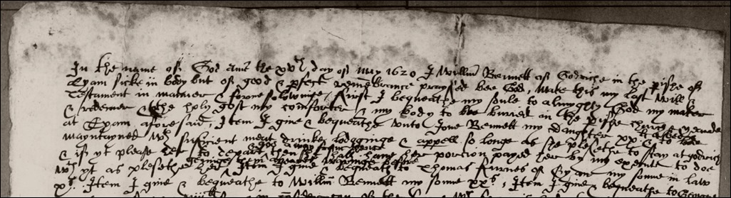 William Bennett - 1620 Will Eyam top page 1 extract
